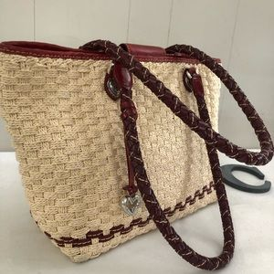 BRIGHTON Tan and Red Soft Straw Shoulder Bag Tote